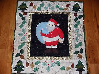 Santa Applique Quilt Wall Hanging Handmade Hand Embroidered Christmas