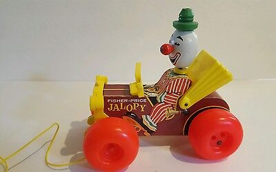 Vintage 1965 ~ Fisher Price Jolly Jalopy Clown Pull Toy #724 ~ Circus Wooden