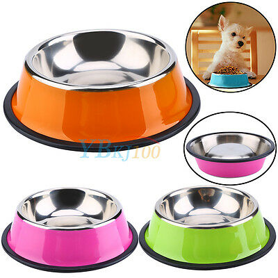 Durable Colorful Pets Dog Cat Stainless Steel Feed Food Drink Water Bowl Dish