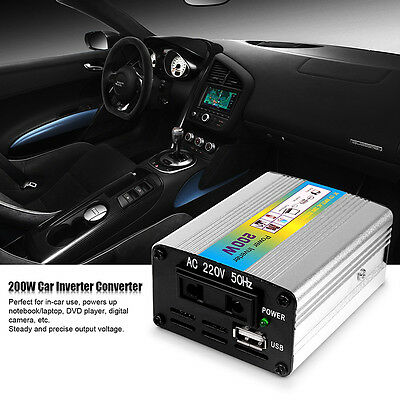 DC to AC 220V Car 12V Auto Power Inverter Converter Adapter 200W USB Charger