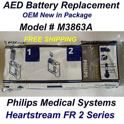 New OEM Philips AED battery replace M3863A ~for FR2 FR2+ AED ~ Install by 2/2018
