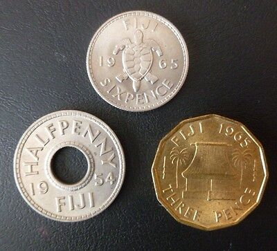 Fiji Coins (3) 1965 Threepence-1965 Sixpence-1954 Halfpenny. All Top Condition