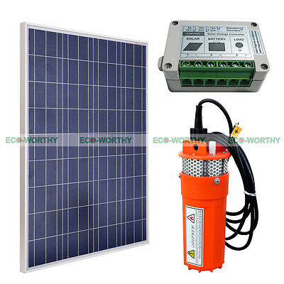 12V Submersible Deep Well Water Pump & 100W Solar Panel for Watering Irrigation