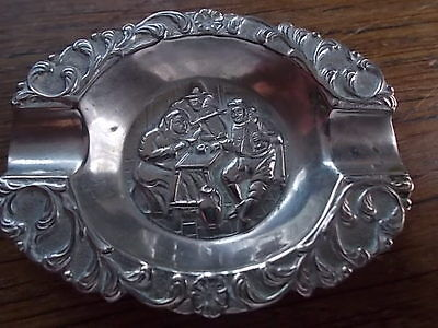 Vintage Continental Miniature Ashtray 17th 18th century Soldiers Military scene