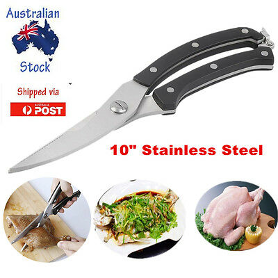 """10"""" Strong Kitchen Shears Stainless Steel Poultry Fish Chicken Bone Scissors OK"""