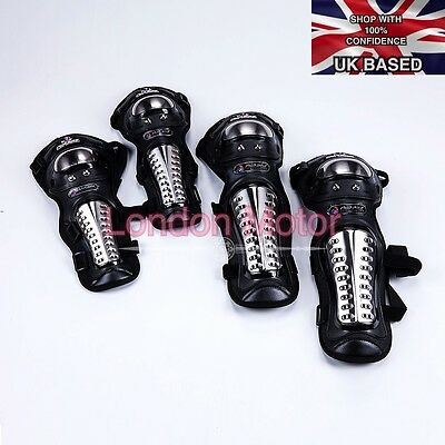 4x Motorcycle Protective Racing Gear Knee/Elbow Body Guards Protector  Pads E103