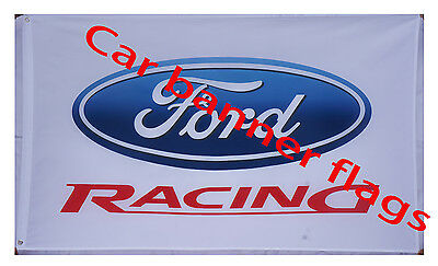 White Ford Racing Flag Ford car Banner 3X5 Flags - free shipping