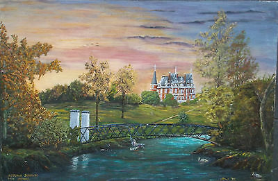 OIL ON BOARD PAINTING by H.HEMMING 1975 AN AUTUMN SUNRISE OVER IMPNEY