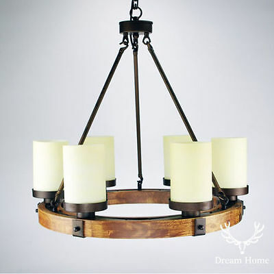 Country Style Wood Round Fixture with 6Lights White Shade Ceiling Chandelier