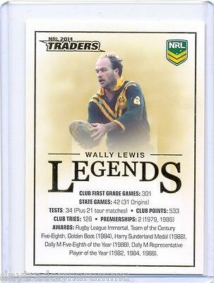2014 NRL ESP Traders case card CC01 Wally Lewis from the Brisbane Broncos