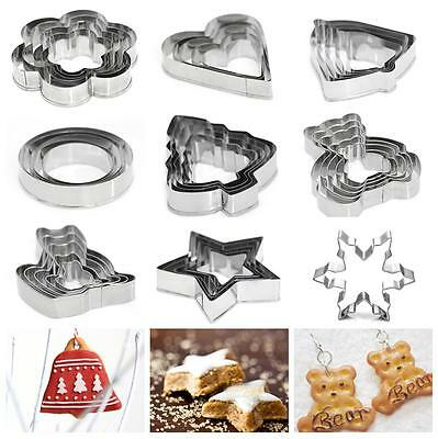 Christmas Metal Cookie Pastry Dessert Cake Cutter Set Baking Mould Molds