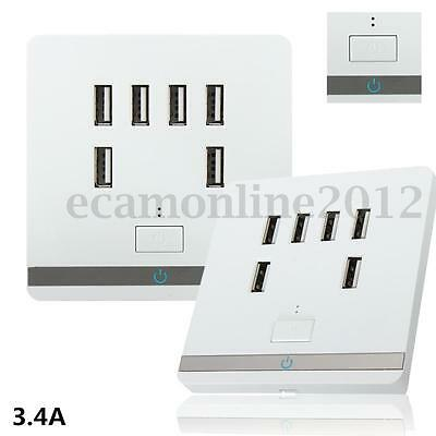 6 USB Port 3.4A AC Wall Charger Charging Outlet Power Adapter Socket Plate Panel