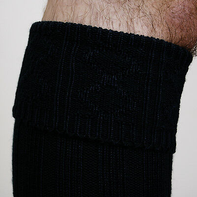 48 Hr Sale Offer Black Adult Scottish Kilt Socks Size 11 -13 Wool Mix Now £6.99