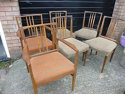 Mid Century Set of 6 Gordon Russell Dining Chairs inc. 2 Carvers