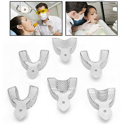6pcs/set Dental Autoclavable metal Impression Trays Stainless Steel Upper&Lower