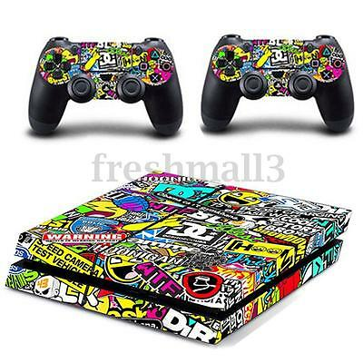 UK Vinyl Body Sticker Decal Skin For Playstation 4 PS4 Slim Console+Controllers