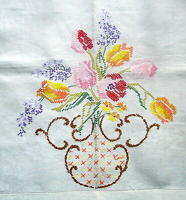 Vintage Linen Hand Embroidered Bowl Spring Flowers Settee Sofa Back Cover