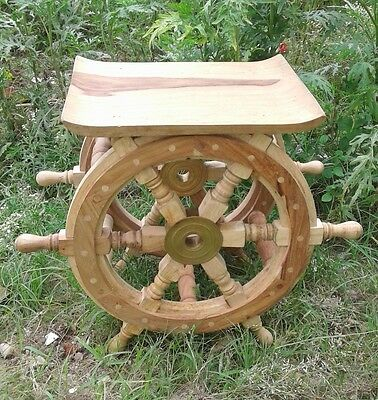 "Ship Wheel Table 18"" Natural Wood Pirate Boat Steering Vintage Halloween Gift"