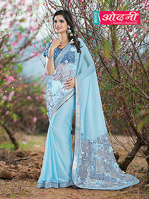 Indian Bollywood Embroidered Party Wear Blue Color Chiffon Silk Designer Saree