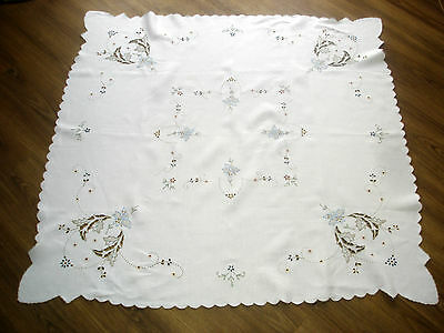 Vintage Embroidered Madeira Coloured Orchids & Leaves Linen Tablecloth