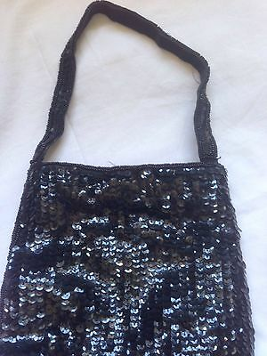 Lovely Vintage Style Sequinned Black Small Bag.