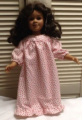 Handmade Nightgown With Red Hearts &  Bunny Slippers For the my twinn doll