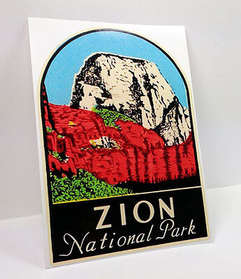 Zion National Park Vintage Style Travel Decal / Vinyl Sticker, Luggage Label