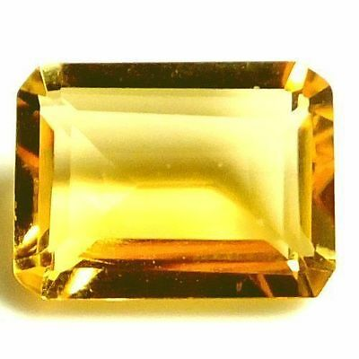 NATURAL TOP GOLDEN YELLOW CITRINE GEMSTONE (7.9 x 6 mm) EMERALD-FACET