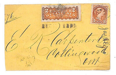 D20 1873 CANADA REGISTERED MAIL 2c Registered Stamp QV Cover {samwells-covers}