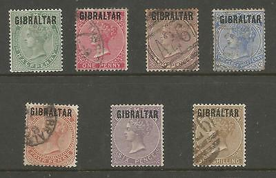 Gibraltar Sg1-7 The 1886 Set Of 7 Mixed Mint And Used Cat £1100