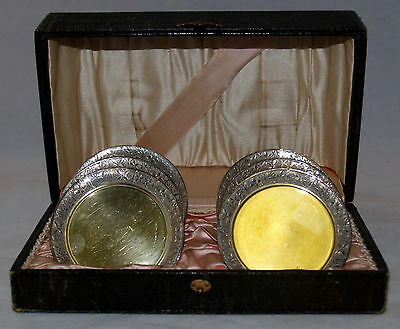 Antique Set Of Gold Washed Silverplated Coasters Cup Plates Meridan 1603