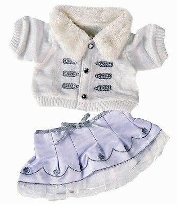 "Winter white & silver outfit teddy bear clothes to fit 15"" build a bear plush"