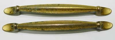 "2 Long Art Deco Brass Drawer Pulls 6 3/4"" - Antique"