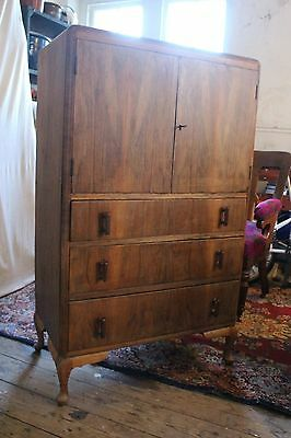 Art Deco Queen Anne Style Cupboard Chest of Drawers