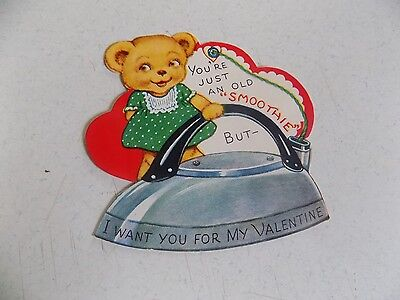 Vintage 1940s or 50s Valentine Children's Greeting Card Bear and Iron