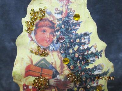 Vintage Hand Crafted Girl At Tree With Rhinestones Beads Christmas Ornament