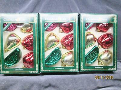 Christmas Time 3 Boxes Of 6 =18 Colorful Plastic Fruit Ornaments