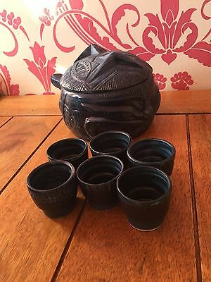 Genuine Maltese Ovenware Set including Pot and 6 Cups - Jade Green