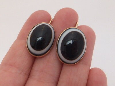 Fine large pair 9ct/9k/9carat/375 gold banded agate Victorian earrings