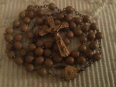 Vintage French Petite Rosary~Soft Caramel Prayer Beads Gilt Connector~Crucifix