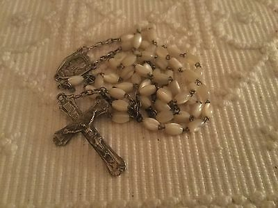 Beautiful Vintage French Complete Rosary Mother Of Pearl Crucifix Christmas Gift