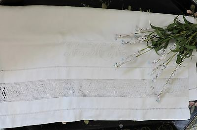 Vintage french towel with lace and monogram