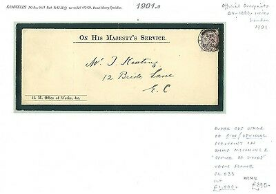 1901.9 GB *O.W OFFICIAL* Superb QV Mourning E *Office of Works*SG.O33 cat £1000+