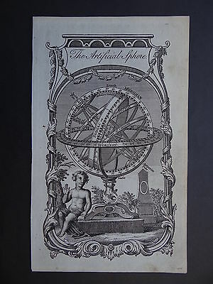 1779 GUTHRIE  Atlas map plate THE ARTIFICIAL SPHERE - Armillary Sphere
