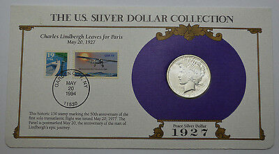 1927-S Peace Dollar RARE KEY DATE LOW RELIEF &STAMPS,US SILVER DOLLAR COLLECTION