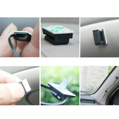50x Car Wire Cord Cable Holder Tie Clips Fixer Organizer Drop Adhesive Clamp HP
