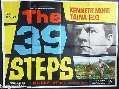 The 39 Steps Original 1959 Quad Poster Kenneth Moore Taina Elg Very Rare