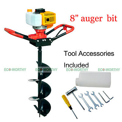 """2.2HP 52CC Earth Auger Gas Powered Soil Digger Planting Trees with 8"""" Drill Bit"""