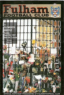 Programme Fulham V Plymouth Argyle Sept 9Th, 1997
