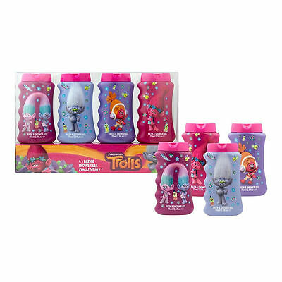 Dreamworks Trolls 4X Pack Bath & Shower Gel Gift Set For Girl`s New
